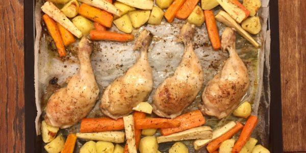 gebrates-poulet-mit-gemuese
